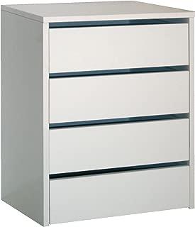 Cajonera de armario color blanco brillo, 4 cajones, mueble