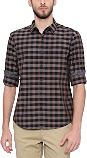 BASICS Slim Fit Bison Brown Checks Shirt