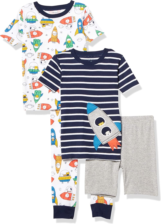 Las Vegas Mall Carter's 4piece Austin Mall Baby-boy Sung fit Ship Pajamas Cotton Rocket