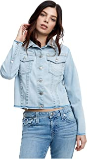 Women's Cropped Boyfriend Trucker Denim Jacket
