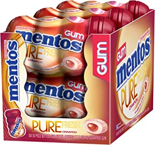 Mentos Pure Fresh Sugar-Free Chewing Gum with Xylitol, Cinnamon, Halloween Candy, Bulk, 50 Piece Bottle (Pack of 6)