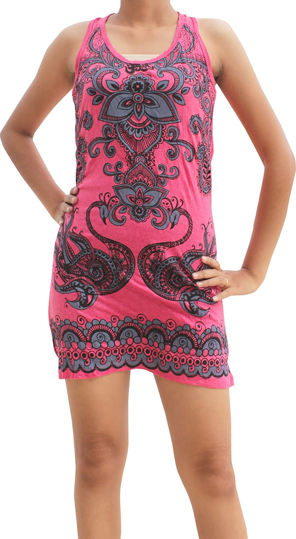 Full Funk RaanPahMuang Short Cotton Ladies Sleeveless Dress Peacock Paisley Soul
