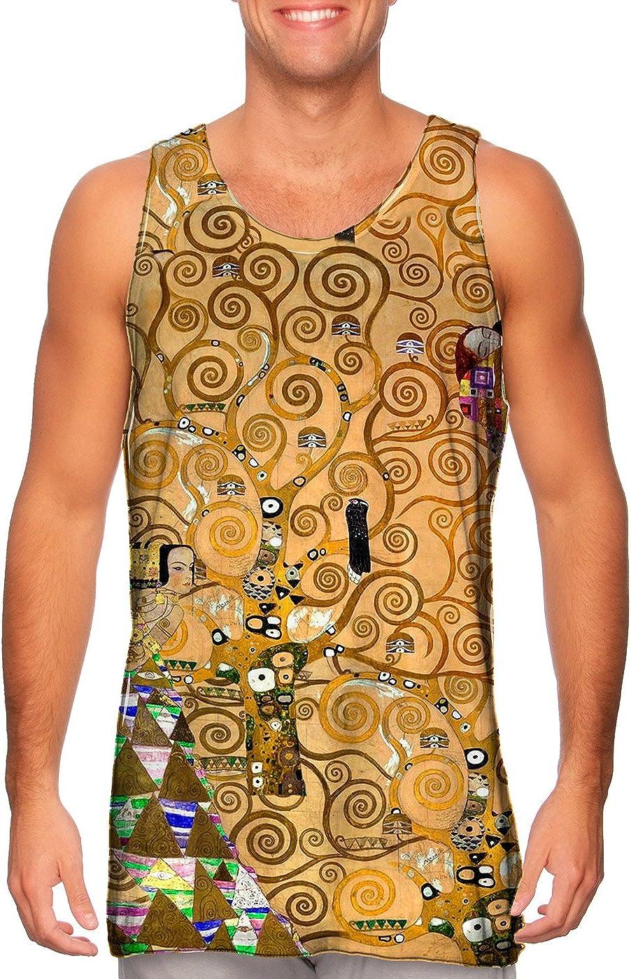 Yizzam- Gustav Klimt - The Tree price Mens Choice of Life Tan -Tshirt- 1905