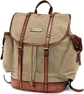 DRAKENSBERG Backpack - Bergsteiger Rucksack im Retro-Vintage-Design mit 13 Laptopfach, handgemacht in Premium-Qualität, 30L, Canvas und Leder, Khaki-Beige, Braun, DR00117