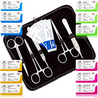 Mixed Suture Threads with Needle + Tools for Medical Student's Suture Kit, Practice Suturing; Surgical Training, First Aid Emergency Demo, Vet Use (12 Mixed Sutures 2-0,3-0, 4-0 + 12 Tools) 24PK Total
