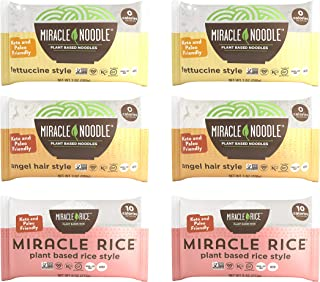Miracle Noodle Zero Carb, Gluten Free Shirataki Pasta and Rice, 6 bag Variety Pack, 44 ounces (Includes: 2 Shirataki Angel...