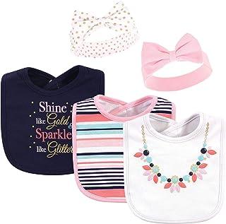 Little Treasure Baby Girls' Cotton Bib and Headband Set