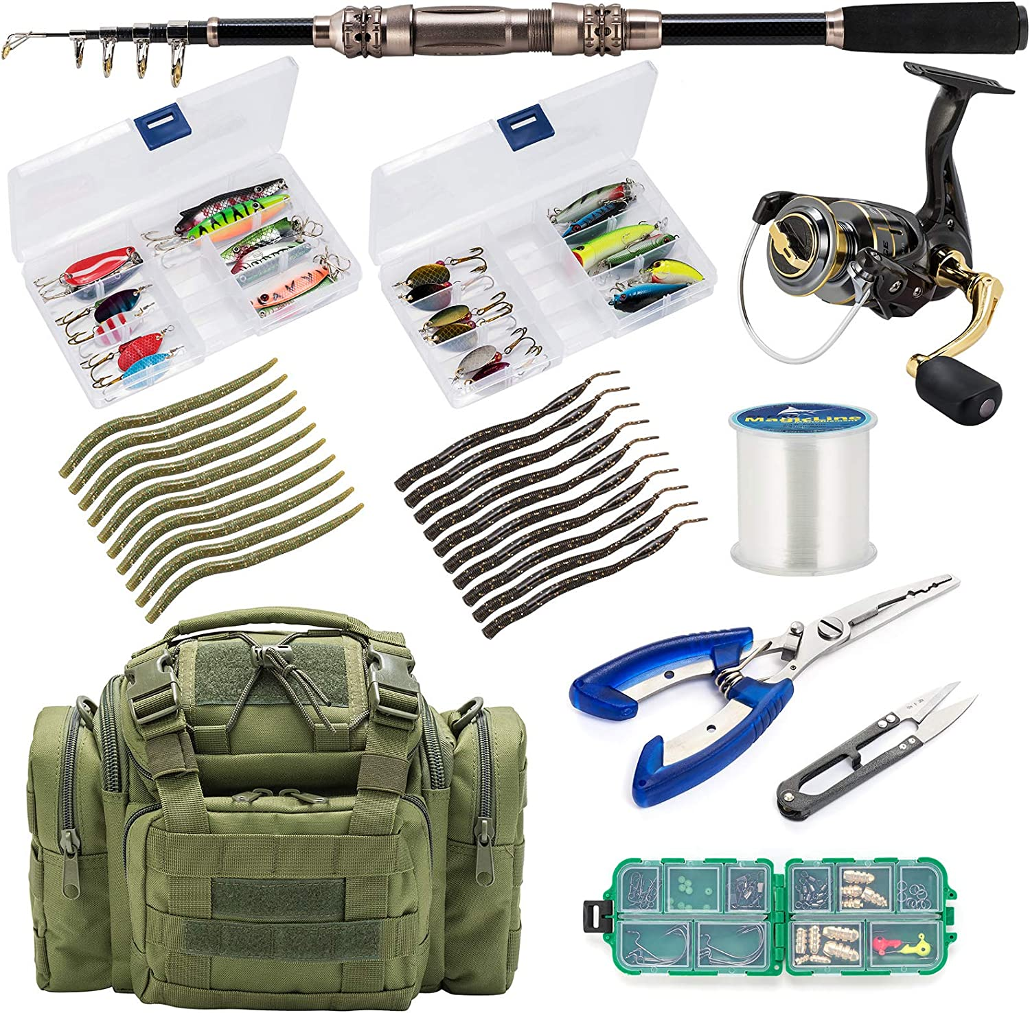 Dr.Fish Fishing Rod and Reel Combos 125pcs Full Kit Carbon Fiber Telescopic Spinning Rod 9+1BB Spinning Reel Tackle Bag Lines Lure Bait Accessories Gear Organizer 2 Size Saltwater Freshwater