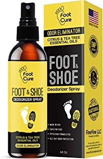 All Natural Tea Tree Oil & Citrus Shoe Deodorizer| Shoe Spray Eliminates Odor Causing Germs Leaving You Fresh| Shoe Spray Deodorizer Made in USA| Foot Spray for All Shoe Types| Foot Deodorant Spray