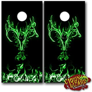 CL0046 Flaming Buck Skull Green Cornhole Laminated Decal WRAP Set Decals Board Boards Vinyl Sticker Stickers Bean Bag Game Wraps Vinyl Graphic Image Corn Hole Deer Hunter Hunting Browning