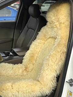 Genuine Sheepskin Seat Covers Lambskin Seat Covers Winter Car Seat Cover Lambs Wool Sheep Skin Fuzzy Seat Cover Shearling Car Accessories Front Bucket Auto Seats Cover Car Truck SUV (Beige)
