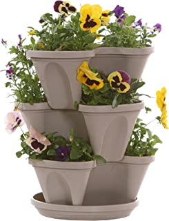 Stone Color 3-Tier Stacking Planter – Vertical Gardening for Herbs, Vegetables,..