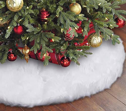 Eafion Christmas Tree Skirt 48 inches Large Snowy White Faux Fur Xmas Tree Skirt for Christmas Decorations Indoor Out...