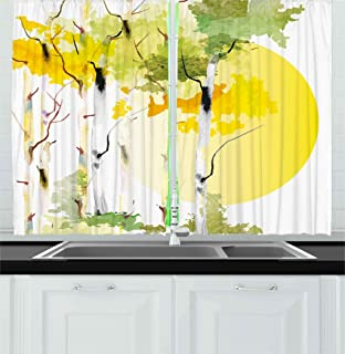 Ambesonne Nature Kitchen Curtains, Artistic Birch Tree Forest Bushes Watercolors with Big Sun Natural Artwork, Window Drapes 2 Panels Set for Kitchen Cafe, 55W X 39L Inches, Green Yellow Orange