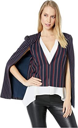 Striped Mixed Media Cape Jacket