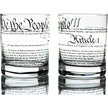 Greenline Goods Whiskey Glasses – United States Constitution (Set of 2) | 10 oz Tumblers - American US Patriotic Gift Set | Old Fashioned Cocktail Glasses