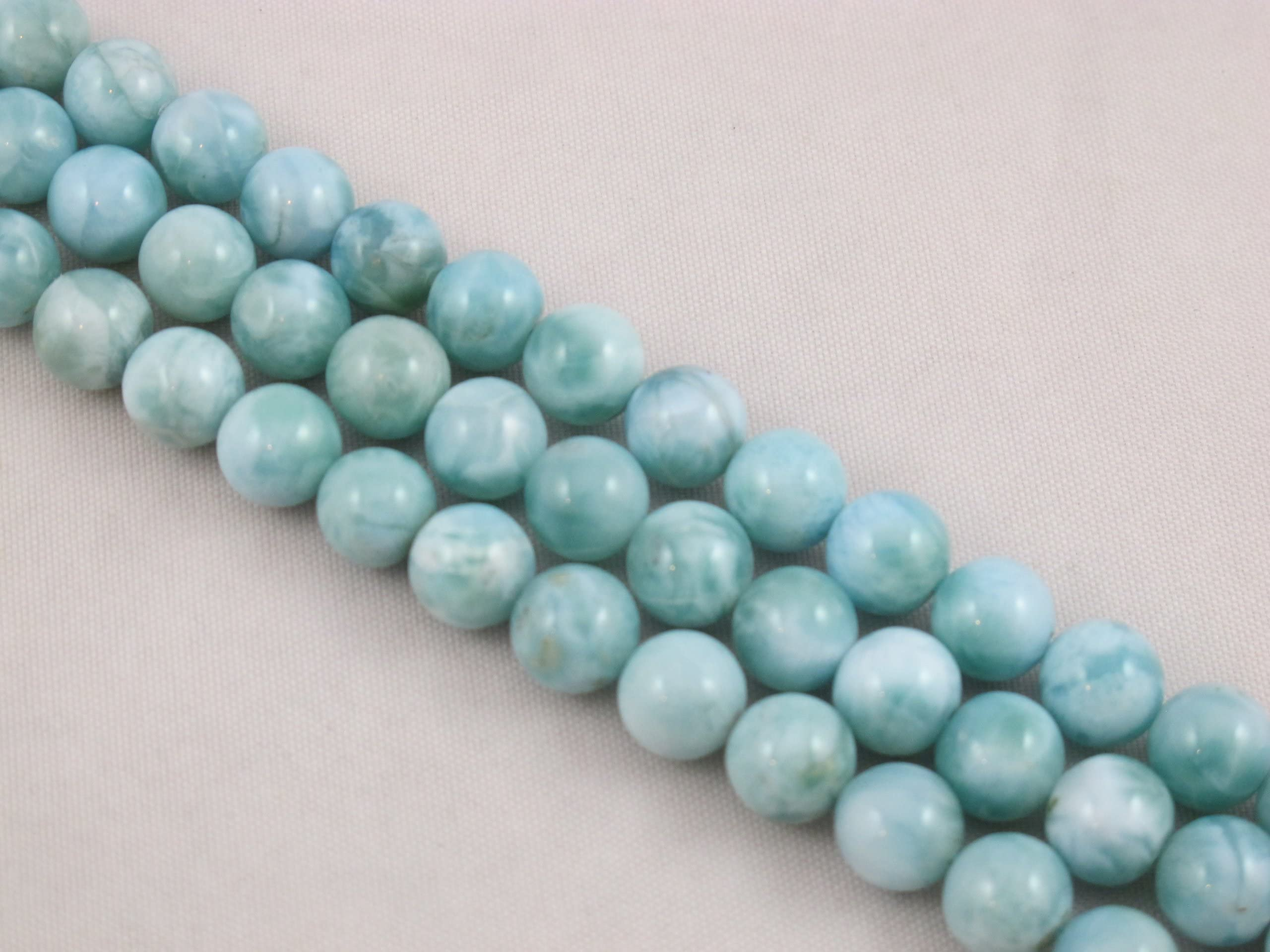 Natural Larimar Beaded Necklace ~ 6mm 7mm Larimar Plain Smooth Round Beads Necklace ~ Larimar Necklace ~ Beautiful Gift For Her AMB-484