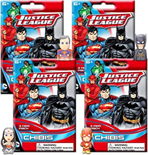 DC Comics Blind Bags Party Favors Set - 4 Justice League Chibis Mystery Packs (Justice League Party Supplies)