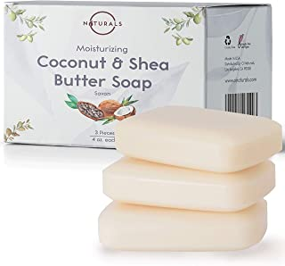 O Naturals 3 Piece Moisturizing Organic Coconut Oil, Shea Butter Bar Soaps. Softens, Nourishes Dry Skin & Sensitive Skin. ...