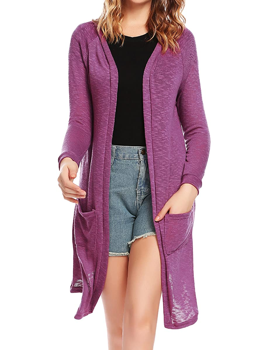 ELESOL Women's Thin Cardigan Sweater, Loose Casual Open Front with Long Sleeved for Sun-Screning