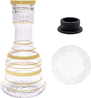 Khalil Mamoon Base, Silicone Shisha Grommet, and Hookah Base Protector, Replacement and Protective Parts, Glass Vase 3 Piece Set (Gold, Large)