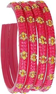 أساور زجاجية للنساء من JD'Z COLLECTION مجموعة أساور بوليوود الهندية للمجوهرات، مجموعة الأساور التقليدية الهندي مهرجان الزف...