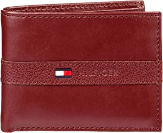 Tommy Hilfiger Men's Leather Wallet – Slim Bifold with 6 Credit Card Pockets and Removable Id Window, Burgundy, One Size