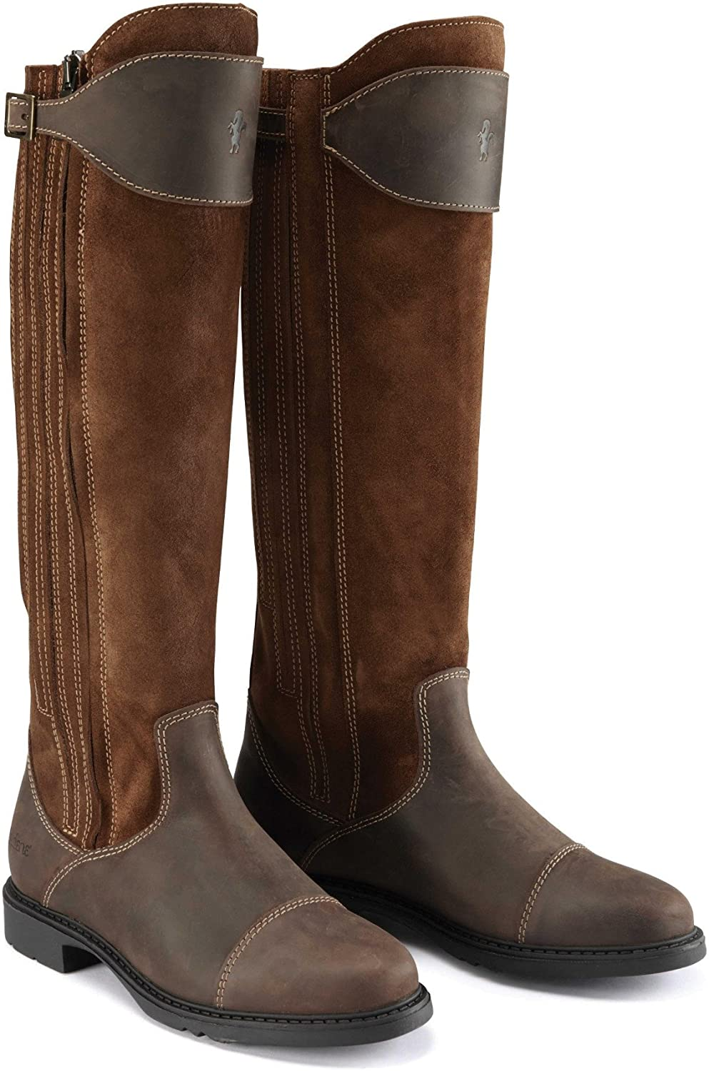 Caldene Womens Ladies Buckland Waxed Leather Suede Long Boots
