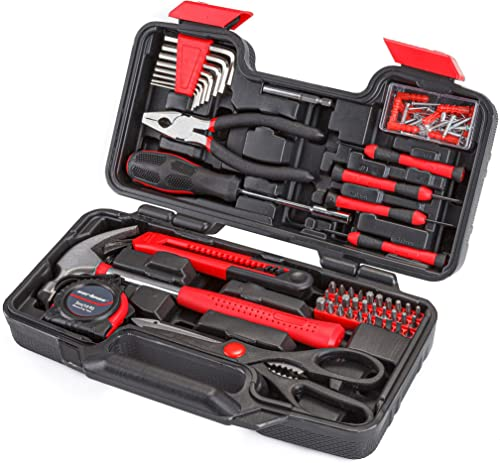 new arrival Cartman 2021 Red Tool Set General sale Household Hand Tool Kit with Plastic Toolbox Storage Case outlet sale