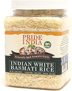 Sponsored Ad - Pride Of India - Extra Long Indian Basmati Rice - Naturally Aged Aromatic Grain, 1.5 Pound Jar