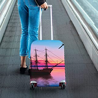 Landscape Theme Suitcase Protectors Dust Proof Luggage Covers Fit 18-28 Inch Luggage Sailboat and bird