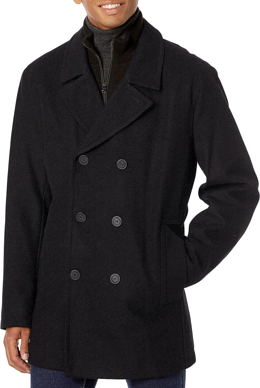 Marc New York by Andrew Marc Men's Burnett Melton Wool Pea Coat Jacket