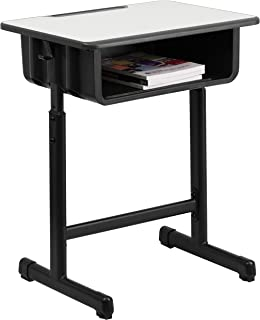 Flash Furniture Student Desk with Grey Top and Adjustable Height Black Pedestal Frame