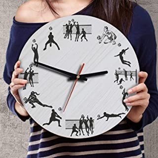 VTH Global Volleyball 12 Inch Silent Battery Operated Wood Wall Clocks Gifts for Team Players Fans Sport Lovers Coaches