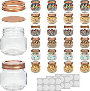 WILLDAN Set of 24-8OZ Mason Jars With Regular Lids Rose Gold Edition - Ideal for Body Scrubs, Lotions, Jam, Honey, Wedding Favors, Shower Favors, Baby Foods, 30 Whiteboard Labels Included