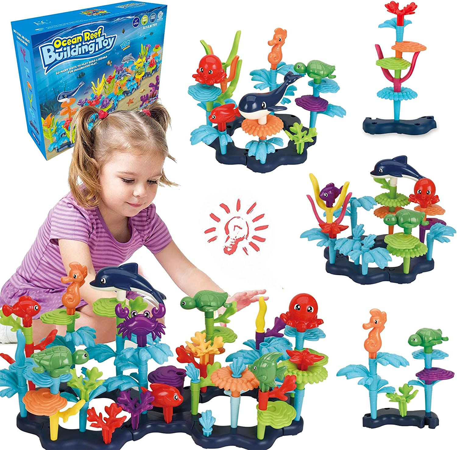 Ocean Reef Building Toy SetforToddlers and Kids Age 3, 4, 5, 6 Year OldBoys and GirlsStacking Reef Garden Building ToySTEM(125 pcs)