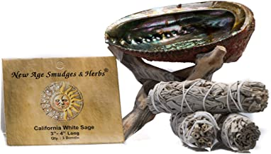 Smudging Kit - 3 California White Sage Smudging Wands (Salvia Apiana) with Beautiful Natural 5 in - 6 in Abalone Shell, Ki...