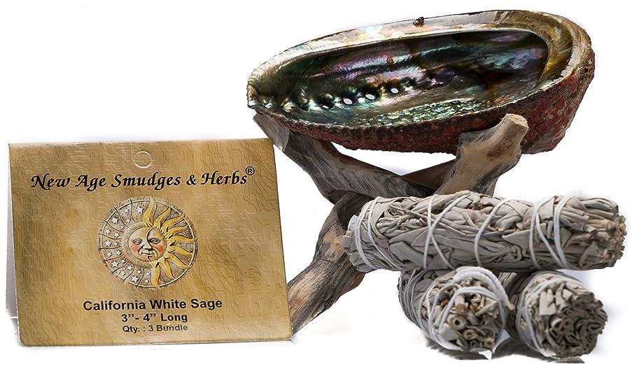 公使館差別する思春期のスマッジングキット - カリフォルニアホワイトセージ スマッジワンド 3本 (サルビア?アピアナ) 美しい自然の5インチ - 6インチ アバロンシェル 天然木製コブラ三脚スタンド付き - セージスティックの長さは4インチ