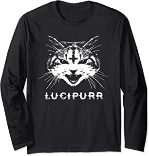 Lucipurr Satanic Cat with Inverted Upside Down Cross Long Sleeve T-Shirt