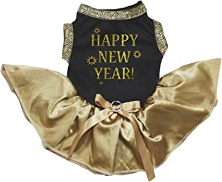 Petitebella Happy New Year Cotton Shirt Tutu Skirt Puppy Dog Dress