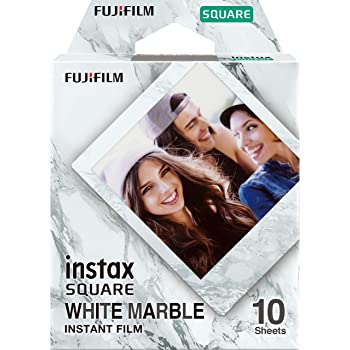 Fujifilm 16656473 Instax Square Film, Whitemarble, Lot de 10 tirs