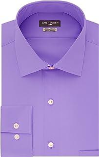 "Van Heusen Calvin Klein Men's Non Iron Slim Fit Solid Point Collar Dress Shirt, Iris, 16.5"" Neck 34""-35"" Sleeve"