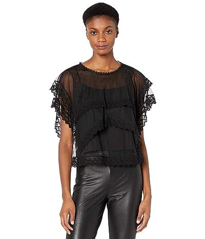 BCBGMAXAZRIA Tiered Lace Top (Black) Women