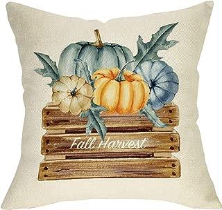 Ussap Fall Harvest Watercolor Pumpkins Sign Autumn Decoration Thanksgiving Day Farmhouse Decorative Throw Pillow Cover Cushion Case for Sofa Couch Home Decor Cotton Linen 18