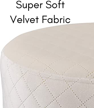 BIRDROCK HOME Round Cream Velvet Ottoman Foot Stool with Lattice Design – Soft Compact Padded Stool – Gold Trim - Great for T