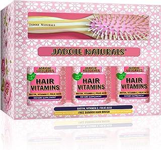 Jadole Naturals Hair Vitamins Gummy Berries Flavor with Free Bamboo Hair Brush set