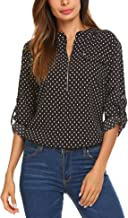 Women Blouses Shirts Floral Long Sleeve Chiffon Casual Tops Zip Up Sexy Classic for Work