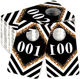 Whaline Live Sale Number Tag, 001-100 Number Set, Plastic Normal and Reverse Mirror Image Number Tags for Facebook Reusable Lularoe Supplies Hanger Cards for Clothes 100 Consecutive Numbers