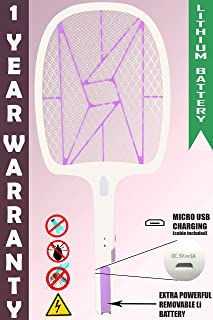 Weird Wolf Rechargeable Mosquito Racket Bat with USB Charging and 1 Year Warranty (Li Model, Unique Design)