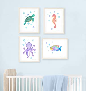 Sea art print set. Under the sea watercolor paintings. Ocean nursery decor. Sea creatures kids room art. Sea decor. Turtle, seahorse, octopus, fish art.